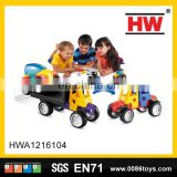 Smart kids car builders window trailer and recovery vehicle magnetic blocks