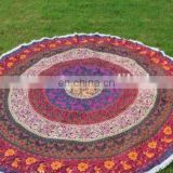 Mandala Round Hippie Beach Throw Roundie Yoga Mat Indian Beach Towel Pompom Roundie Tapestry