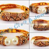 2016 Designer Pearl Gold plated Rajwada bracelet-Indian traditional handmade Kundan Work Bracelets-Wholesale handmade Bracelet