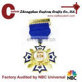 Promotional gifts expert factory custom gold finish military pin medal with ribbon