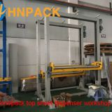 Automatic Pallet Stretch Wrapper With Top Foil Applicator top sheet dispenser For The top Film Cover