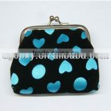 New !Wholesales Customized cute colourful heart pattern fabric cloth clasp clip coin purse wallet