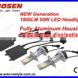 LED head lamp 50w cree 1800lm H4 high/low beam fully aliminum housing perfect heat dissipation