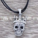 Cool skull necklace,Fashion diamond necklace,Black cord necklace