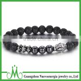 Wholesale custom 8mm lava bead bracelet jewelry for men fashion silver buddha bracelet