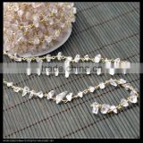 LFD-008C ~ Wholesale Gold Plated Wire Wrapped Freeform Natural Quartz Chips Chains Gemstone Beaded Chain Jewelry Making