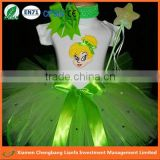 most popular new arrival children fairy costume, shiny green elf fairy dress of girls,kids fairy tutus with elf magic wand sets