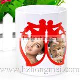 DIY 2015 New high quality 11oz ceramic sublimation color changing mugs heart shape logo cup