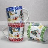 Liling 12oz white bone china mugs christmas