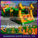 china manufacturer baby inflatable obstacle courses, children jumping house animals obstacle with tunnel,juegos inflables china