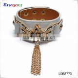 Leather tassel bracelet white leather bracelet LDB2773