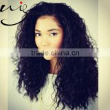 Wholesale Fashion Premium Quality Kinky Curly Full Hand Tied Virgin Brazilian Human Hair Full Lace Wig with baby hair
