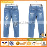 Wholesale Manufacturer Heavy Rips Twill Skinny Jeans Plain Dyed Apparel Clothing For Women