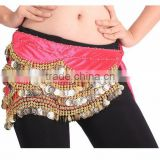 2016 New designs cheap belly dance sequin coin belts belly dancing costume hip scarf for women 13 colors available