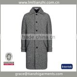 Newest Brand 2015 Fashion Design New Spring/Winter Men Grey Medium Long Oversize Warm Wool Jacket trench coat