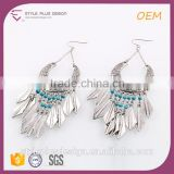 E75309401 Metal Blue Beads Tassel Daily Wear Earrings Designs Jewelry Fashion Designs Silver Plated Stamping Fishhook Earrings