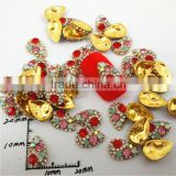 hot sale golden colorful rhinestone water drop 3d nail art accessories wholesale