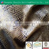 China manufacturer gold foil polyester imitation snake skin fabric panne velvet ZJ013