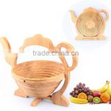 Funny teapot shaped bamboo fruit basket ,bamboo storage basket