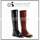 Wholesale flat heel shiny black knee high boots women 2015