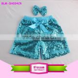 Summer Shiny Fashion New Design Baby Girl Turquoise Sequin Shorts & Pants Little Boy Sparkling Shorts Newborn Baby Sequin Short