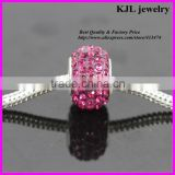 KJL-A0116 wholesale loose bling crystal amethyst and rose paved large hole beads charm silver european beads