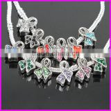 KJL-BD5130 Wholesale ! Mix color rhinestone Antique Alloy ribbon big hole Beads breast cancer awareness fit jewelry DIY