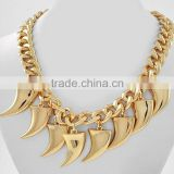 ladies fashion rose gold shark tooth necklace