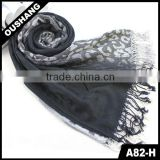 A82-H Winter Classical Pattern Wool Blue Leopard Scarf