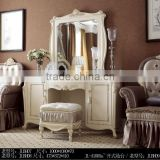 French classic dresser,dressing table and mirror,mirrored vanity table,stool,wooden hand carved