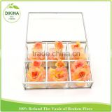 Custom Made Wedding Table Centerpiece Stained Jewelry Flower Decor Storage Container metal glass clear acrylic box with dividers