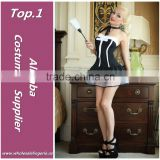 Wholesale Black simple strapless lace hem purry mini dress sexy girls japanese maid costume