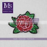2016 100% polyester material in red color sequin embroidery 3D rose flower patches for clothing