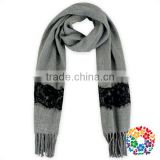Grey With Black Lace Cotton Scarf Baby/Women Two Ues Scarf Shawl Warm Winter Scarf And Shawl 2016