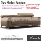 JR8035 elegant chic contemporary white cow leather stainless steel metal L shape living room sofa set home furniture