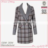 new fashion women's clothing garment apparel direct factory OEM/ODM manufacturing checked women long coat