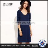 Navy Drop Shoulder Long Sleeve Side Slit Dress Polyester Spandex Casual Plain V Neck Short Dress