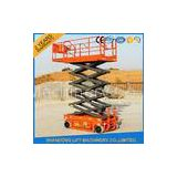 Rough Terrain Scissor Lift , Hydraulic / Electric Motor Lift Drive Mobile Scissor Lift Trolley