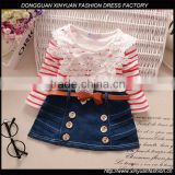 Fashion Children Frocks Designs Long Sleeve Girls Skater Party Dress Kids Denim Casual Dresses