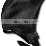 Black flying leather cap