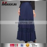 New season summer dark blue lace block cheap pleated skirts OEM maxi long dresses Bohemian fashion chiffon skirts