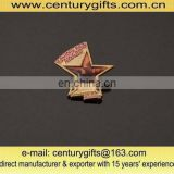 Metal badges , made of zinc alloy, gold plated,star shape,customized designs are welcome