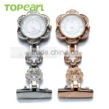 Topearl Jewelry Latest Design Quartz Pin Brooch Fashion Nurse Chain Pocket Watch in Bulk LPW613