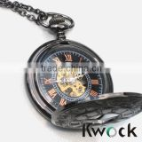 Free watch sample classic Gun black wholesale polished custom vintage pocket watch,pocket watch with chain