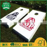 cornhole game board and bean bag toss game