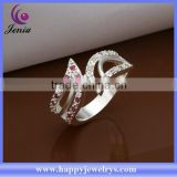 Beautiful design cheap price women ring 925 silver plated zircon big stone ring designs (CR317)