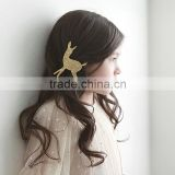 New style pretty kids deer hair clip lovely christmas sliver and gold color deer bow with clip CB-3386