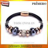 Leather Bracelet Glass Crystal Beads Magnetic Clasp Fashion Women Gift
