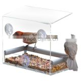 Tranquility Window Bird Feeder in PREMIUM LUCITE ACRYLIC. (I) Removable Tray, (II) 3 Perches, (III) Squirrel Resistant