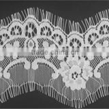 New Design White Eyelash Flower Nylon Lace Trim For sewing craft Wide:8.5cm length 3yards